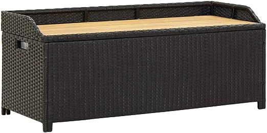 vidaXL Banco de Almacenamiento Jardín Ratán Sintético Mobiliario Duradero Robusto Resistente Práctico Funcional Elegante Moderno Útil Negro 120cm: Amazon.es: Hogar
