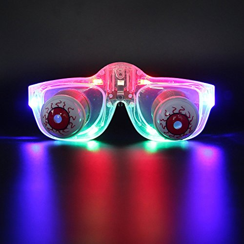 DAXIN DX Light Up Pop Out Eyes Glasses Droopy Eyes Glasses Goofy Slinky Pop Out Eye Gag Halloween Costume Party Joke Transparent (Flashing Eyes Halloween Costume)