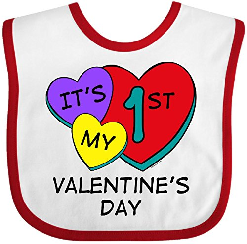 Inktastic - 1st Valentine's Day Hearts Baby Bib White/Red 697b (Romance Bib)
