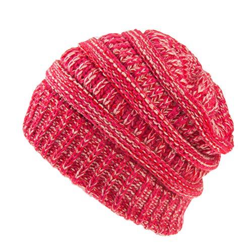Spikerking Womens Motley Outlet Ponytail Hat High Bun Knit Warm Winter Beanie,Rose Pink red