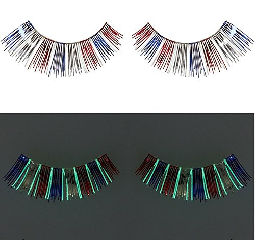 Zinkcolor Red Blue Foil False Eyelashes G241 Glow In The Dark Halloween Costume (White Feather Lashes)