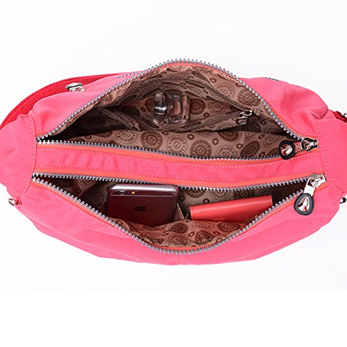Outreo Bolsos de Casual Bolso Bandolera Moda Bolsas de Deporte Ligero Impermeable Bolsos Mujer Bolsas de Viaje para Escuela Pequeña Rojo 1