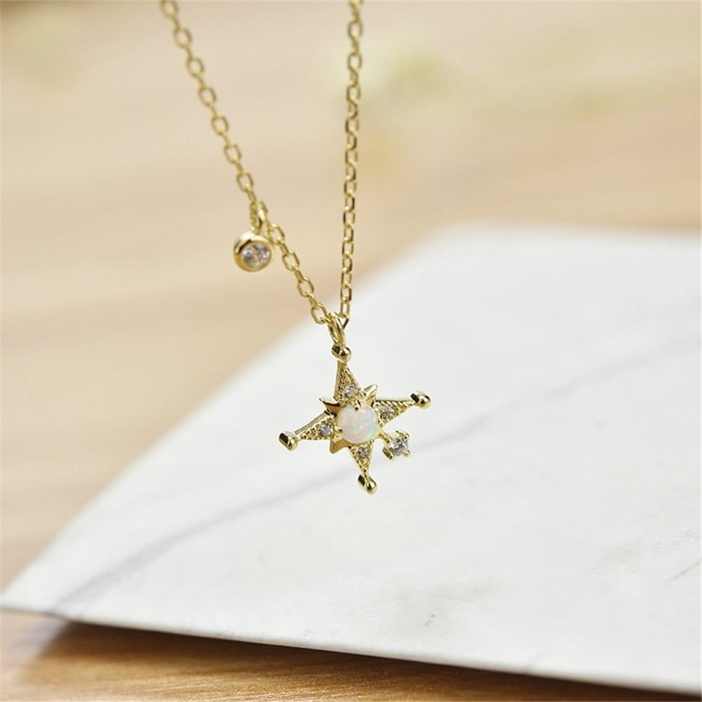 Ling Studs Earrings Hypoallergenic Cartilage Ear Piercing Simple Fashion Earrings Ear Jewelry Sterling Silver Necklace Clavicle Chain Simple Star Pendant Student 925 Silver Short Accessories, Gold by Ling (Image #3)