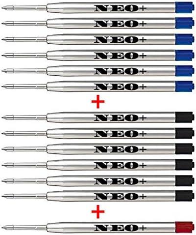 Recargas de bolígrafo de calidad, económicas pero de larga duración, 12 piezas, punta mediana. Se adapta a Parker Ball Pen también. Repuesto de estilo G2 (6 x NEGRA + 6 x AZUL + 1 TINTA ROJA)