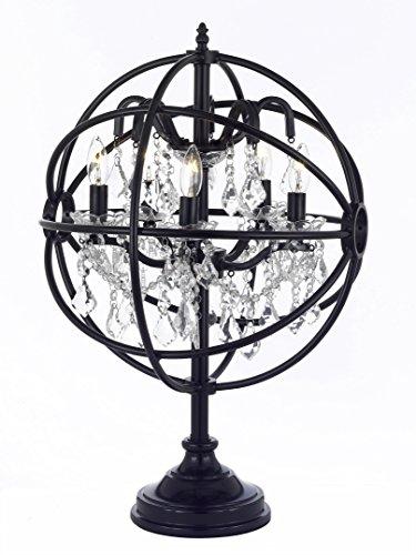 Foucault's Orb Crystal Iron 5 Light Table Lamp Modern Contemporary (Orb Crystal)