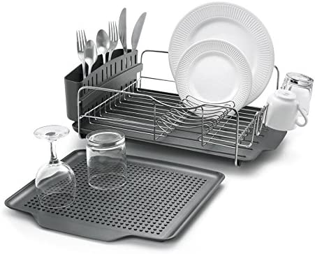 Polder KTH-615 Dish Rack & Tray 4 PC Combo– Advantage System Includes Rack, Drain Tray, Removable Drying Tray & Cutlery Holder – Stainless Steel & Plastic