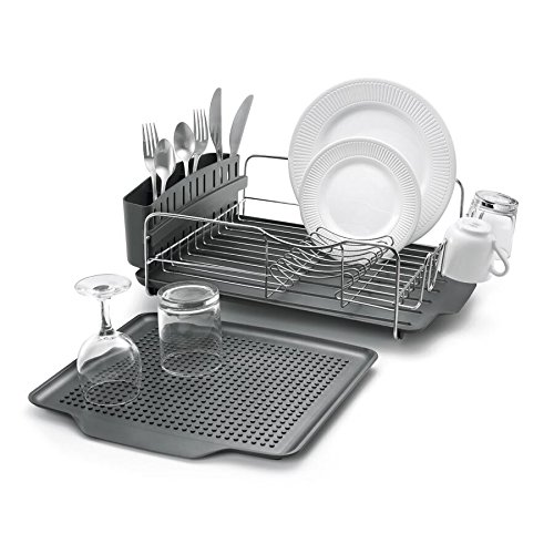 Polder Dish Rack & Tray 4 PC Combo– Advantage System Includes Rack, Drain Tray, Removable Drying Tray & Cutlery Holder – Stainless Steel & Plastic