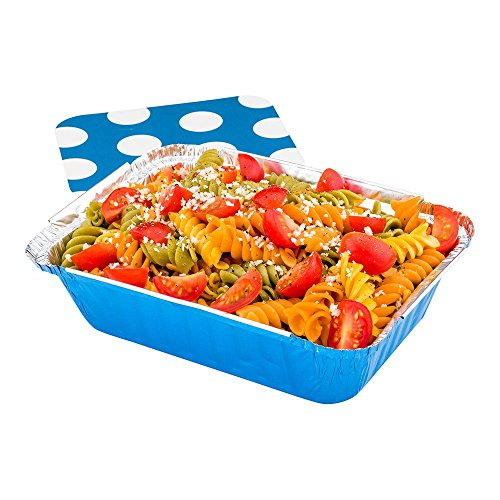 Disposable Aluminum Foil Take Out Food Containers, To Go Pans with Lids - 16 oz - Catering, Meal Prep, Carry Out - Blue Foil with Polka Dot Lid - 50ct Box - Restaurantware