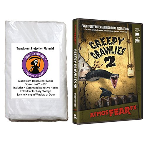 AtmosFearFX Creepy Crawlies 2 Halloween DVD and Reaper Brothers High Resolution Window Projection Screen