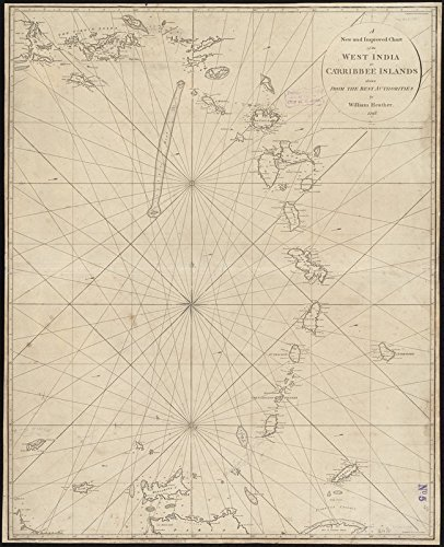 Historic Map | 1795 A new and improved chart of the West India or Carribbee [sic] Islands | Antique Vintage Reproduction