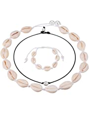 Natural Shell Necklaces with Pearl Handmade Cowrie Pearls Shell Choker Necklace Adjustable Rope Beach Conch Jewelry for Women and Girls, 3pcs Set