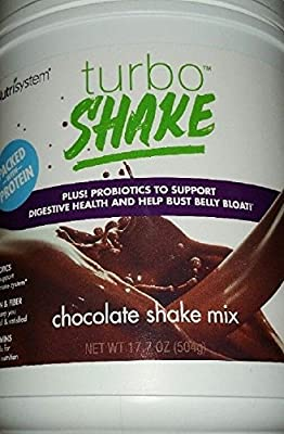 NUTRISYSTEM TURBO SHAKE (Protein + Probiotics) CHOCOLATE SHAKE MIX 17.2OZ - 14 Servings - Support Digestive Health & Help Bust Belly Bloat