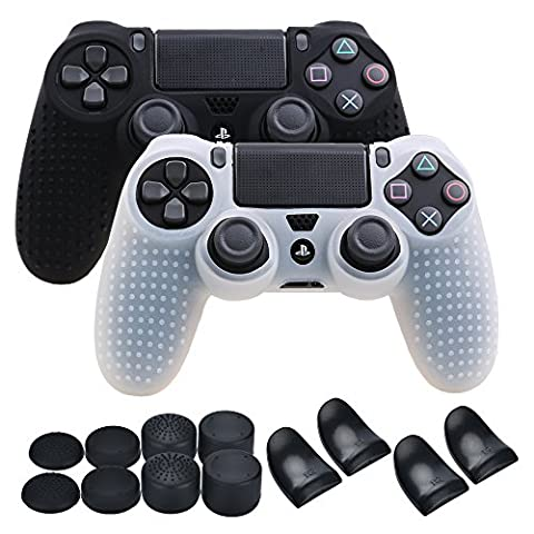 YoRHa Studded Silicone Cover Skin Case for Sony PS4/slim/Pro controller x 2(black+white) With Pro thumb grips x 8 & trigger extender x (Ps4 Extender Thumb Sticks)
