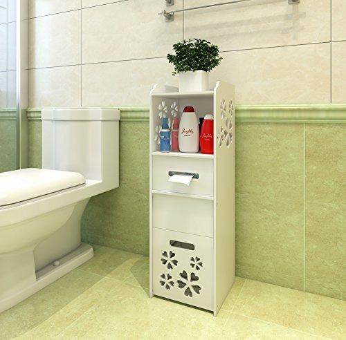 MYBESTFURN Waterproof Freestanding Slim Bath Cabinet With Garbage Can Tissue Dispenser Multipurpose Toilet Side Cabinet Corner Cabinet Utility Standing Shelf Cabinet - White MB351C (Bathroom Slim Cabinets)