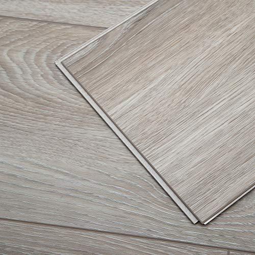 (Diflart Cantha Oak 23.6 sq.ft Waterproof Vinyl Plank Flooring Click Together 48x7 inch Lvt Flooring Foam Back Rigid Core Wood Grain Finish Pack of 10)