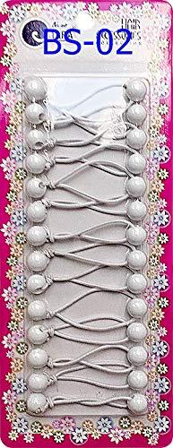 Tara Girls Twinbead Ponytail Holders - White -