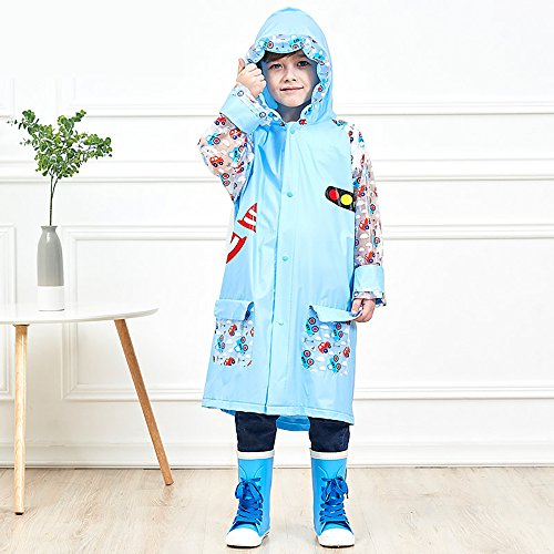 SITENG Girls Boys Kids Children Inflatable Hooded School Backpack Rain Jacket Raincoats Ponchos by SITENG (Image #2)