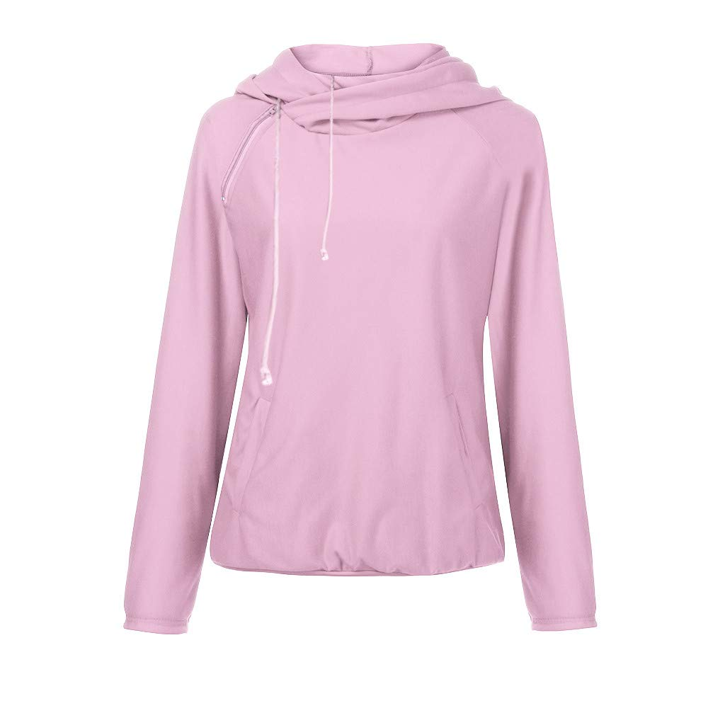 COOKI Women Shirts Casual Long Sleeve Oblique Zipper Drawstring Double Hooded Sweatshirt Pullover Tops Hoodie Blouse