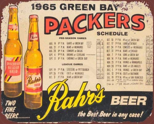 (1965 Green Bay Packers Rahrs Beer Home Schedule Reproduction Metal Sign 8x12 inch)