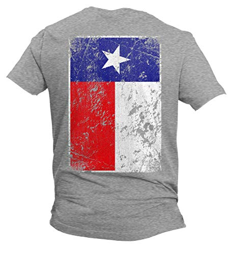 Distressed Texas Flag - USA Lone Star State Men's T-Shirt (Light Gray - Back Print, X-Large)