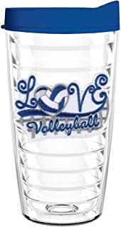 product image for Smile Drinkware USA-LOVE VOLLEYBALL 16oz Tritan Insulated Tumbler With Lid and Straw