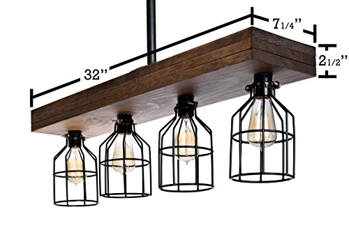 Farmhouse Lighting Triple Wood Beam Rustic Decor Chandelier Light -Rustic Lighting for Kitchen Island Lighting, Dining Room, Bar, Industrial, and Billiard Table-Wooden Light with Edison Cages Smooth