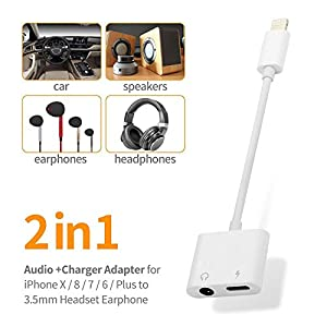 Lighting Headphone Jack Adapter Dongle for iPhone 7/7Plus 8/8Plus X 10 Aux Audio to 3.5mm Lightning Splitter Adaptor Charge+Earphone+Volume Converter ControlAccessories Charging Cable Support iOS 11.3 by turelar