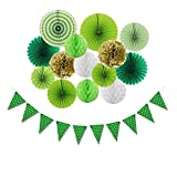 SUNBEAUTY St Patrick Day Party Decorations Kit Green Paper Fans Honeycomb Balls Green Dot Banner for...
