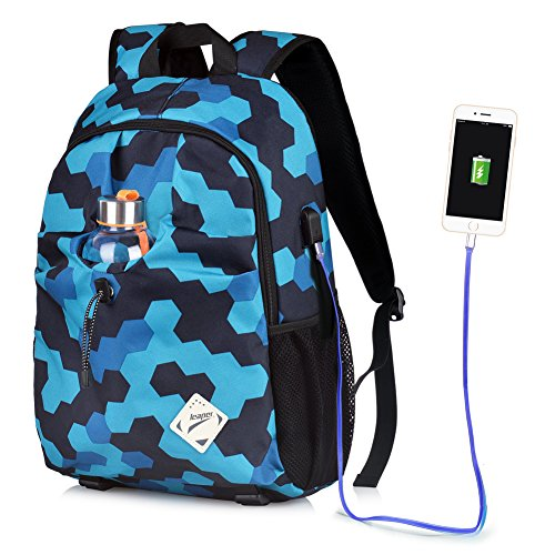 Price comparison product image Vbiger Laptop Backpack Oxford Computer Shoulder Bag Casual School Bags with Charging Port (Blue)