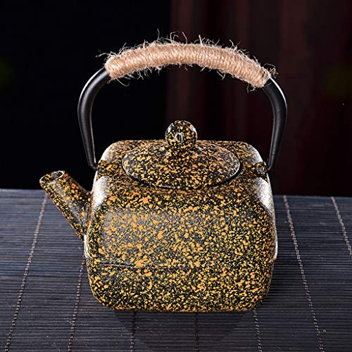 Kays Teapot Cast Iron Teapot with Removable Infuser Japanese Style Tetsubin Tea Kettle 0.4L (400ml), Square old iron - Iron Square Cast Infuser