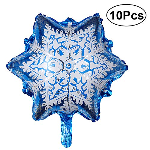 NUOLUX 10pcs Snowflake Aluminum Foil Balloons for Baby Shower Birthday Christmas Party Decoration]()