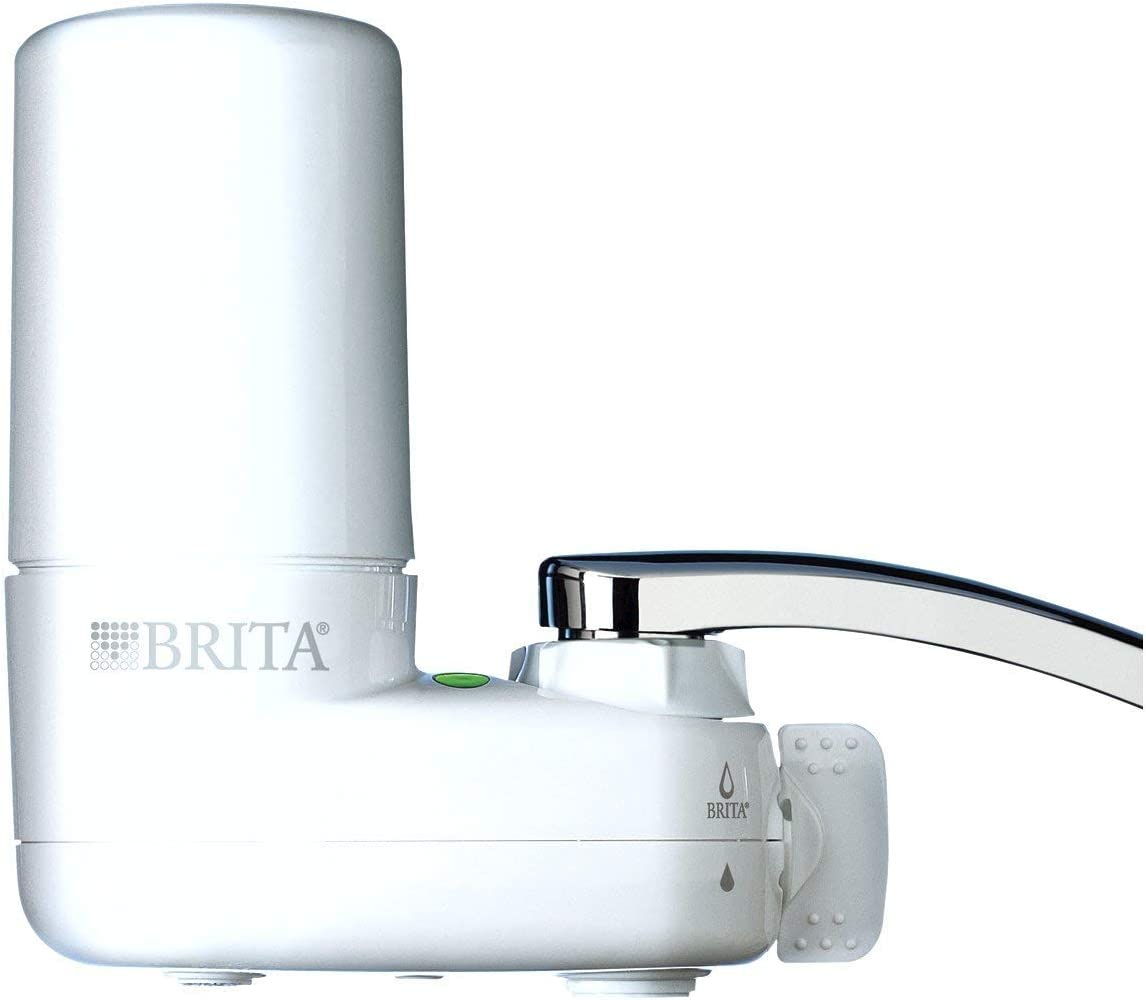 Brita Tap Water Filter System, Water Faucet Filtration System with Filter Change Reminder, Reduces Lead, BPA Free, Fits Standard Faucets Only – Basic, White 3-Pack
