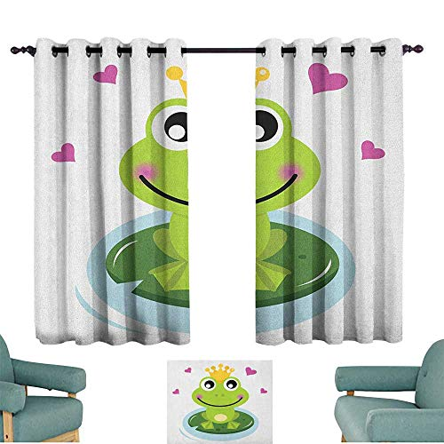 WinfreyDecor Animal Bedroom Curtain Cartoon Cheerful Frog Prince with a Crown and Hearts Fairy Tale Character Doodle Suitable for Bedroom Living Room Study, etc.55 Wx45 L Multicolor