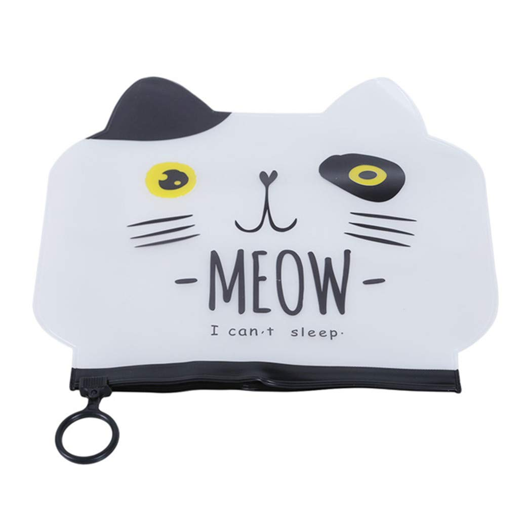 GOMYIE Cosmetic Bags Animal Cat PVC Toiletry Bags Travel Organizer(white)