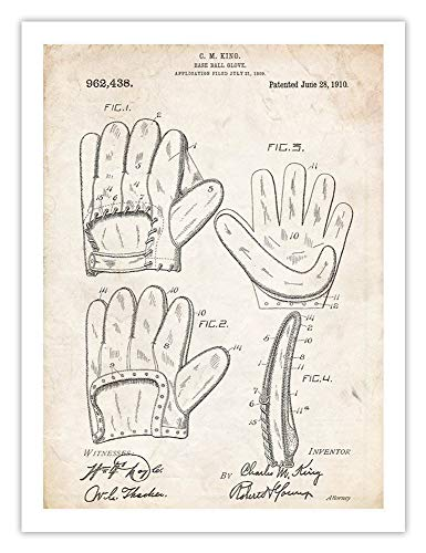 Glove Vintage Ruth Babe Baseball - BASEBALL GLOVE MITT PATENT PRINT 18X24 POSTER BABE RUTH VINTAGE REPRO GIFT 1910 UNFRAMED