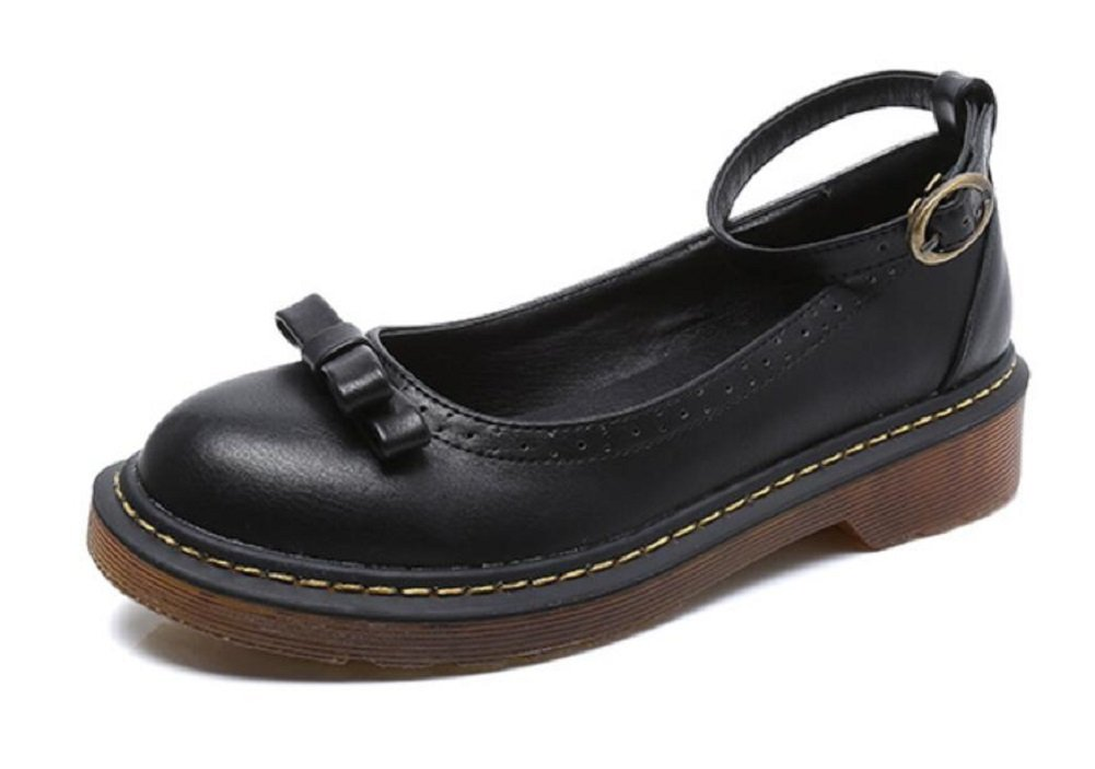 JiYe Women's Bow Tie Shoes Casual Leather Ankle Flat Shoes by B072DR54WK 8.5 B(M) US|Black-1