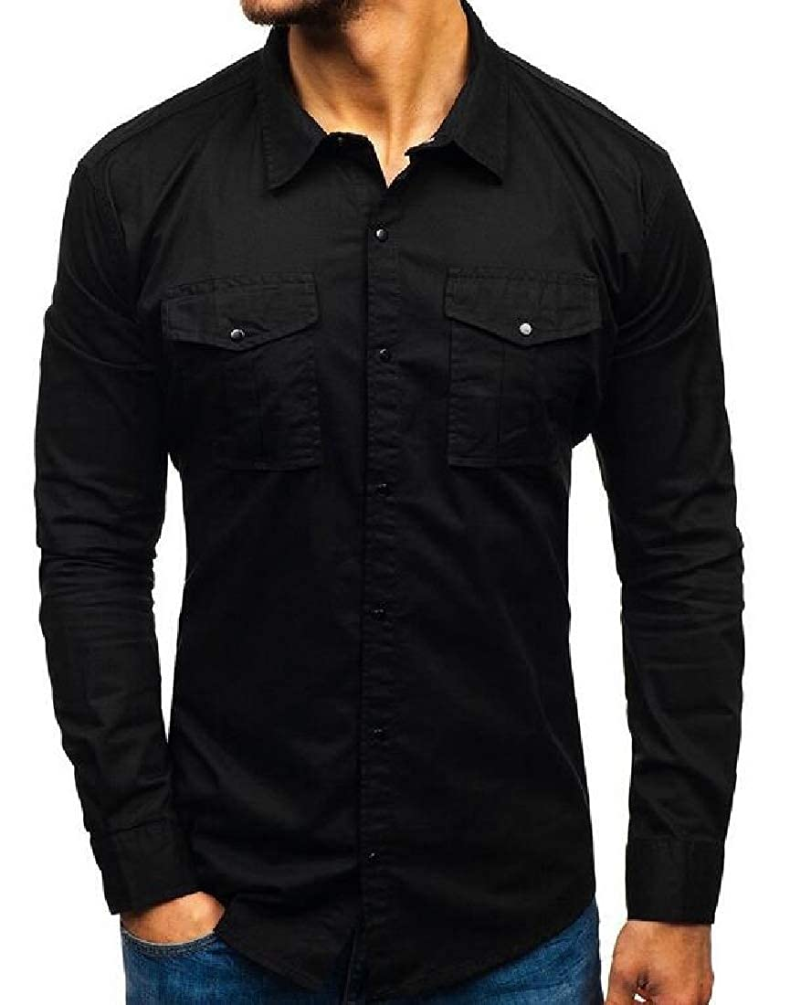 Zantt Men Casual Solid Multi-Pockets Button Down Long Sleeve Cotton Cargo Shirt