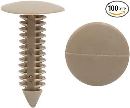 uxcell 100 Pcs Black Door Trim 8mm Hole Plastic Push Rivets Fastener for Bumper Fender