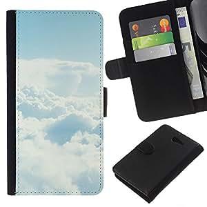 YiPhone /// Tirón de la caja Cartera de cuero con ranuras para tarjetas - Cielo despejado Nube - Sony Xperia M2