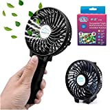 Mini Fan Battery Operated, Kingcenton Handheld Portable Foldable 4 Inch Fan with Clip for Stroller - 2000mAh Rechargeable Battery, 3 Speeds Adjustable for Home, Office and Travel (Black)