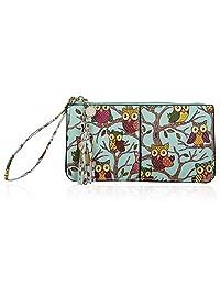Befen Women's Wristlet Clutch Cell Phone Wallet, Multi Card Organizer Wallet Purse-Cute Owl