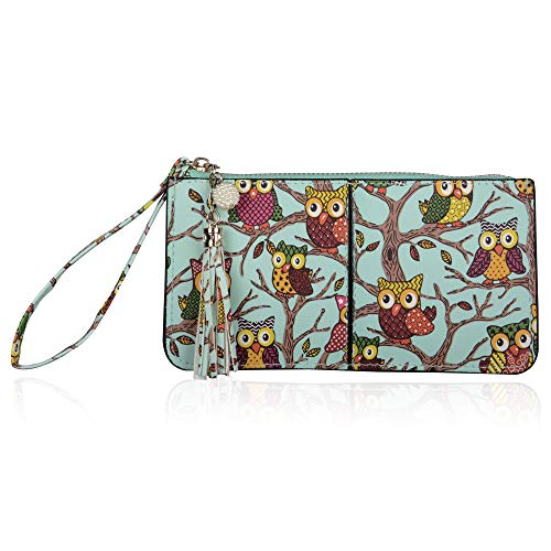 befen Soft Leather Wristlet Phone Wristlet Wallet Clutch Tassels Wristlet with Exquisite Tassels/Wrist Strap/Card Slots/Cash Pocket- Fit iPhone 6 Plus/Samsung Note 5-Cute Owl (Best Squeeze Page Examples)