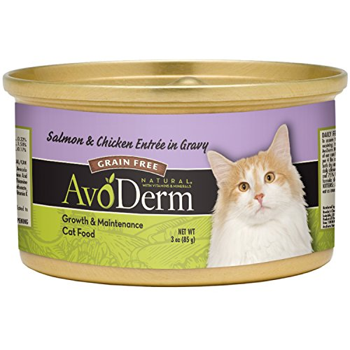 Avoderm Natural Grain Free Wet Cat Food, Salmon & Chicken Entree, 24 Cans (3Oz)