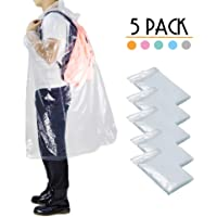 Opret Disposable Rain Ponchos, Thick Emergency Waterproof Ponchos Durable Transparent Lightweight Raincoat with Drawstring Hood for Adults, Pack of 5
