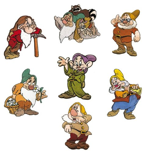 (The 7 Dwarfs of Walt Disney Snow White and The 7 Dwarfs Embroidered Iron On Applique Patches Lot of 7 )