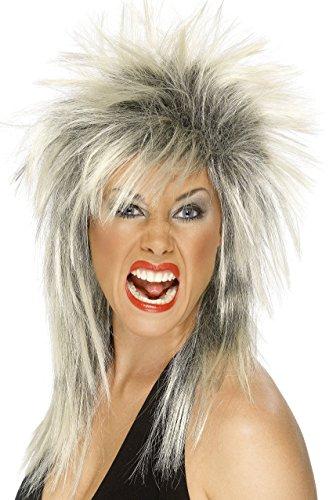 Smiffy's Women's Long Blonde and Black Rocker Mullet, One size, Rock Diva Wig, 5020570422397 (Buy Mullet Wig)