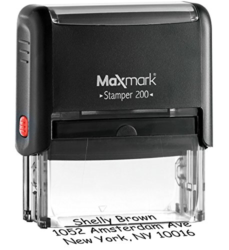 MaxMark Custom 3-Line Self Inking Return Address Stamp - Up to 3-Line Stamp Many Font Choices and Colors (Stamp Personal)