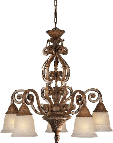 Forte Lighting 2153-05-41 Chandelier with Mica Flake Glass Shades, 27