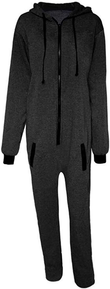 CRYYU Men Contrast Color Long Sleeve Zip Off Sports Hooded One Piece Jumpsuit