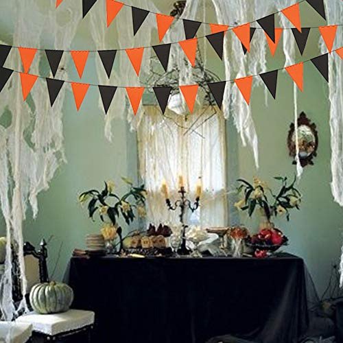 3M Black Orange Halloween Banners Bunting Flags, Paper Garland Hanging Ornaments Party Supplies for Home Office School Shops]()
